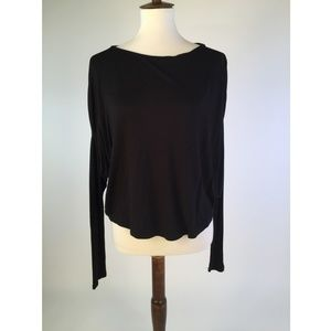 Vince Womens Blouse Top Small Black Hi-Lo B21-04Z